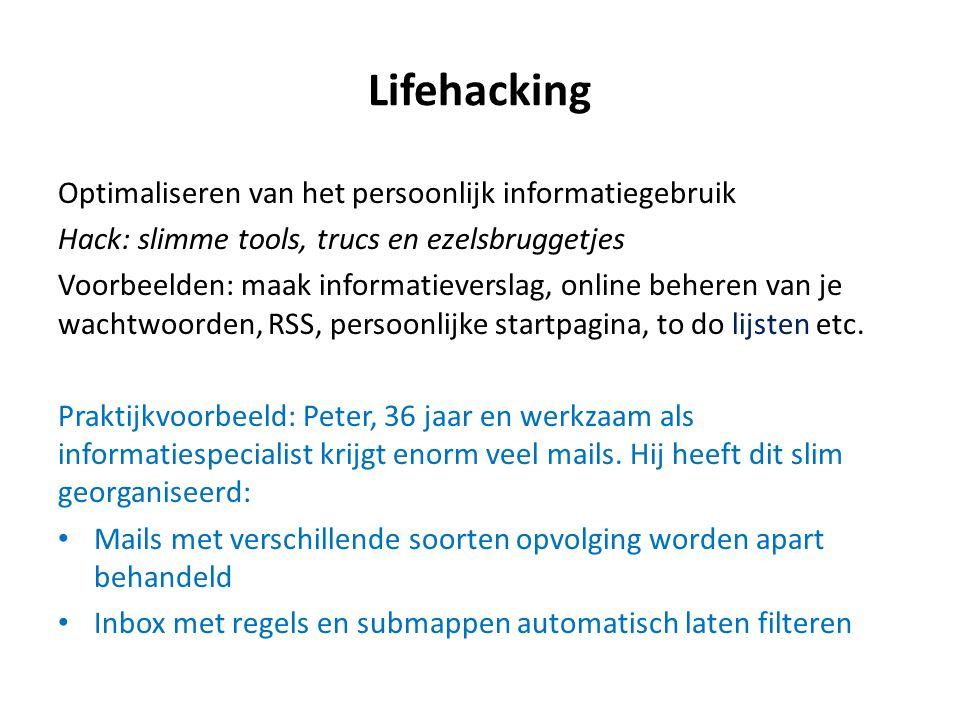Lifehacking Optimaliseren van het persoonlijk informatiegebruik
