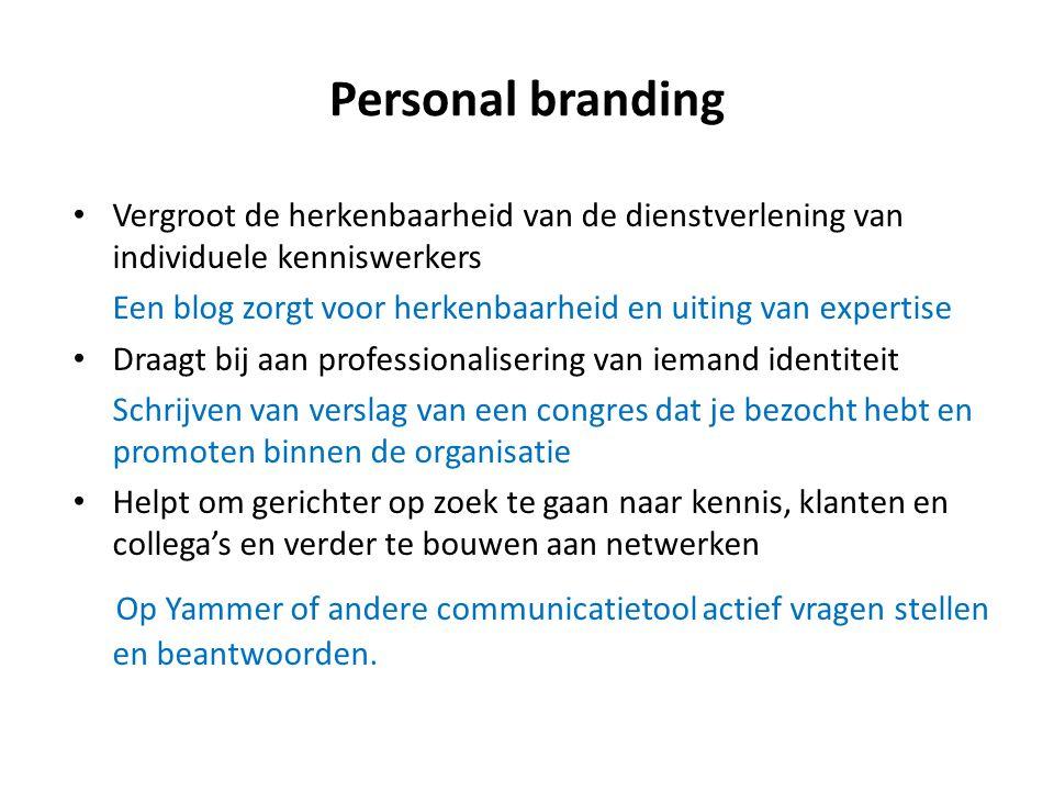 Personal branding Vergroot de herkenbaarheid van de dienstverlening van individuele kenniswerkers.