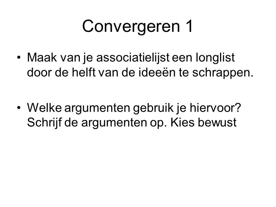 Convergeren 1 Maak van je associatielijst een longlist door de helft van de ideeën te schrappen.