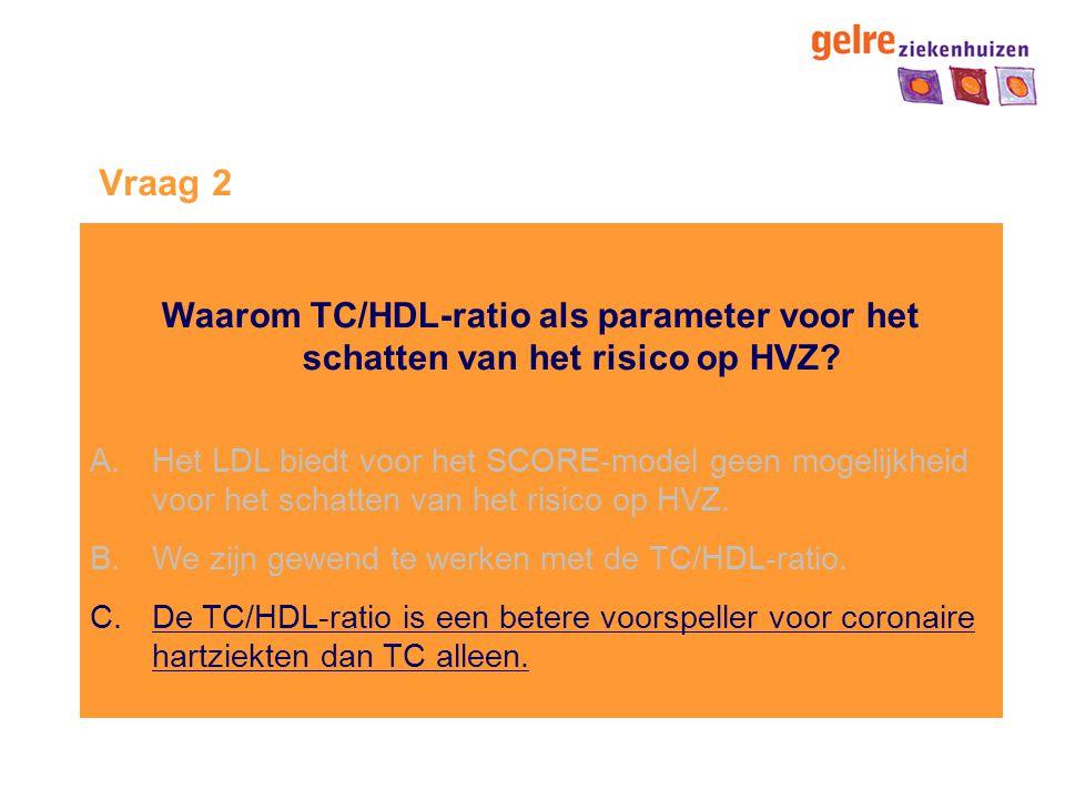 Vraag 2 Waarom TC/HDL-ratio als parameter voor het schatten van het risico op HVZ
