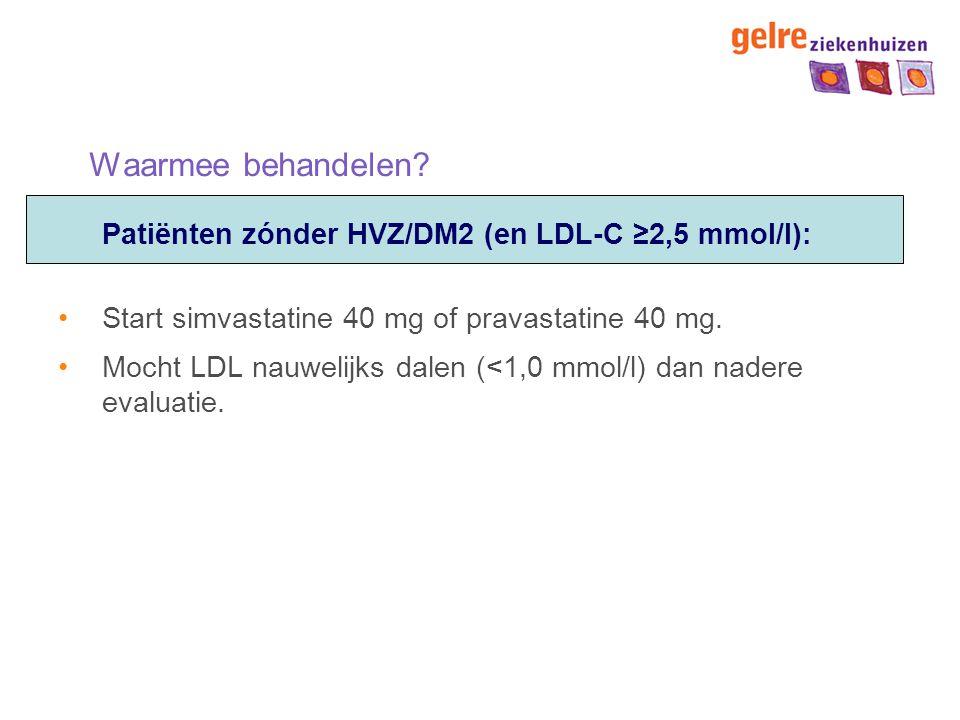 Waarmee behandelen Patiënten zónder HVZ/DM2 (en LDL-C ≥2,5 mmol/l):