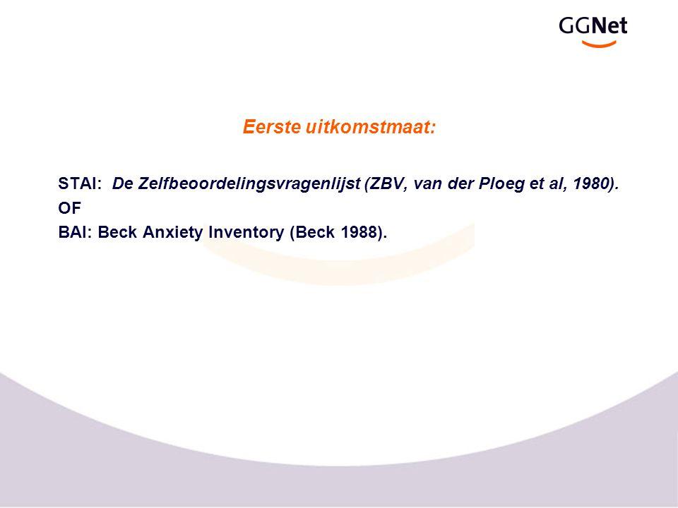 Eerste uitkomstmaat: STAI: De Zelfbeoordelingsvragenlijst (ZBV, van der Ploeg et al, 1980).