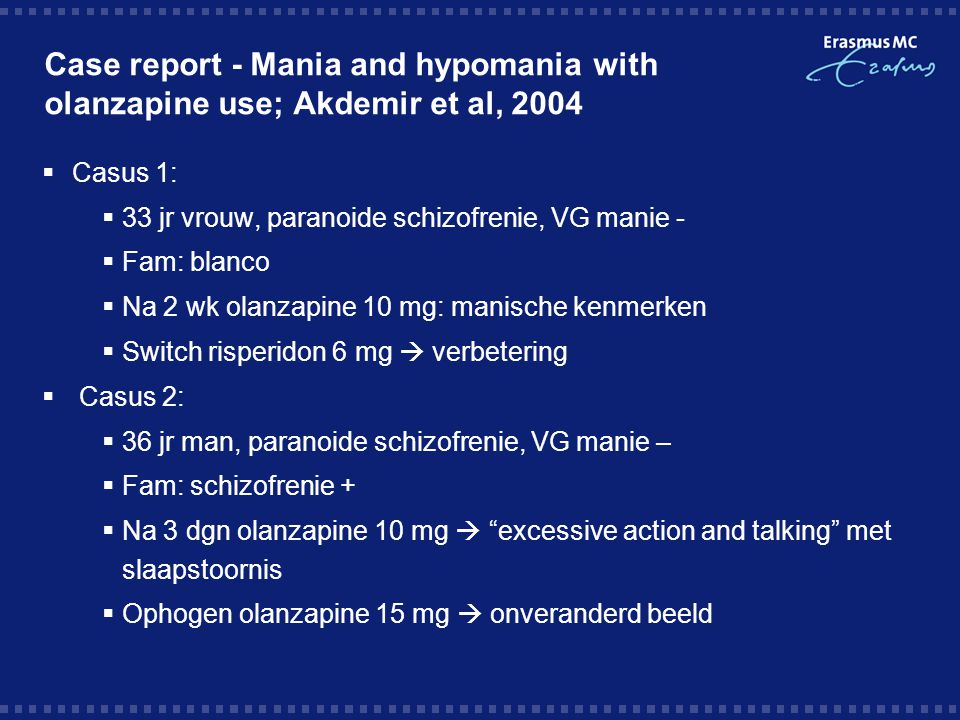 Case report - Mania and hypomania with olanzapine use; Akdemir et al, 2004