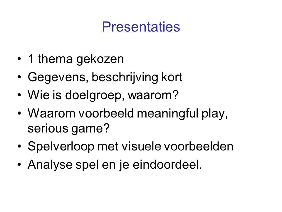 Presentaties 1 thema gekozen Gegevens, beschrijving kort