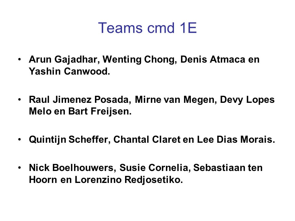 Teams cmd 1E Arun Gajadhar, Wenting Chong, Denis Atmaca en Yashin Canwood. Raul Jimenez Posada, Mirne van Megen, Devy Lopes Melo en Bart Freijsen.