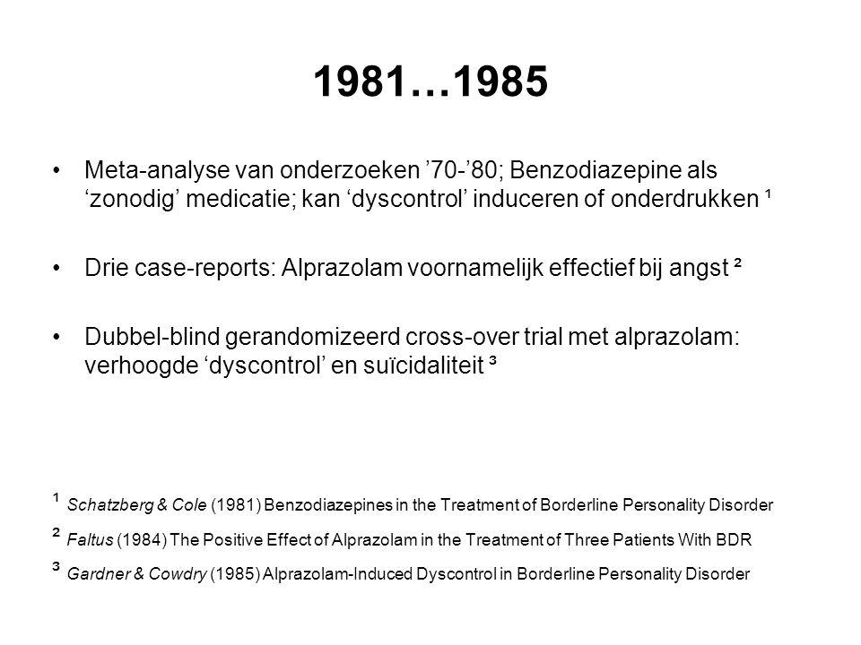 1981…1985 Meta-analyse van onderzoeken '70-'80; Benzodiazepine als 'zonodig' medicatie; kan 'dyscontrol' induceren of onderdrukken ¹.