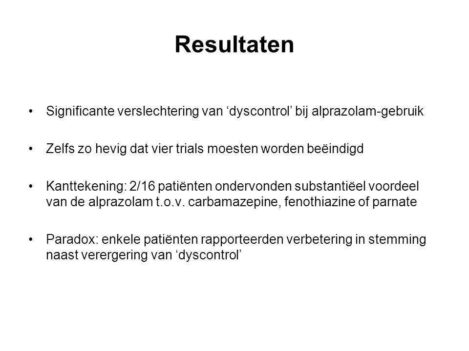 Resultaten Significante verslechtering van 'dyscontrol' bij alprazolam-gebruik. Zelfs zo hevig dat vier trials moesten worden beëindigd.