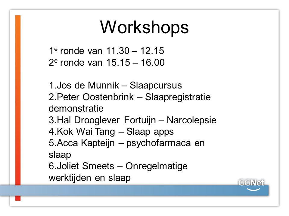 Workshops 1e ronde van 11.30 – 12.15 2e ronde van 15.15 – 16.00