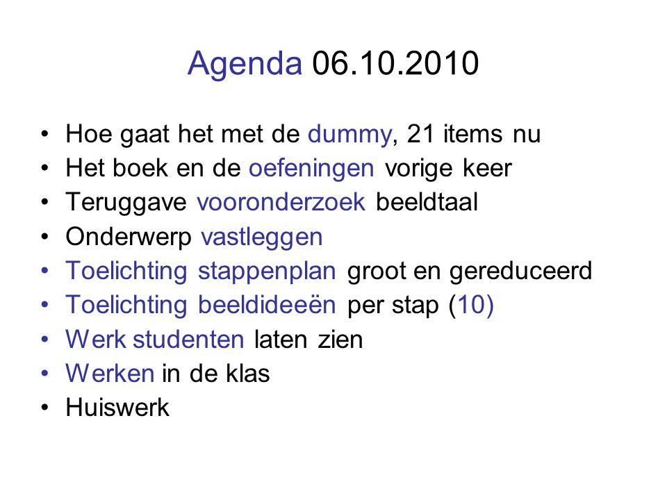 Agenda 06.10.2010 Hoe gaat het met de dummy, 21 items nu