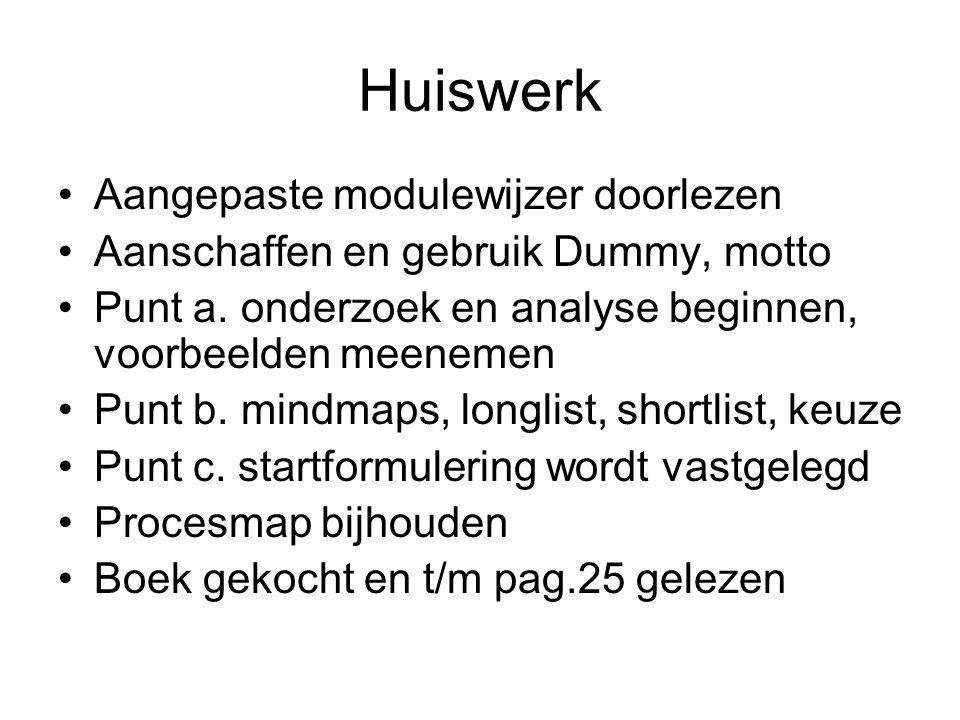 Huiswerk Aangepaste modulewijzer doorlezen