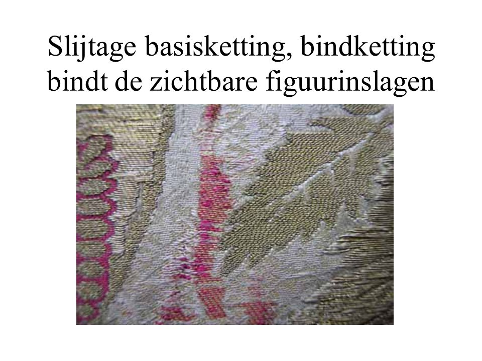 Slijtage basisketting, bindketting bindt de zichtbare figuurinslagen