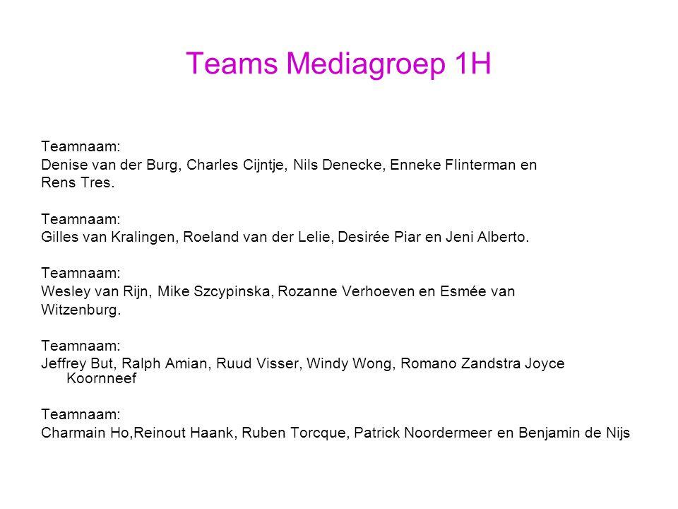 Teams Mediagroep 1H Teamnaam: