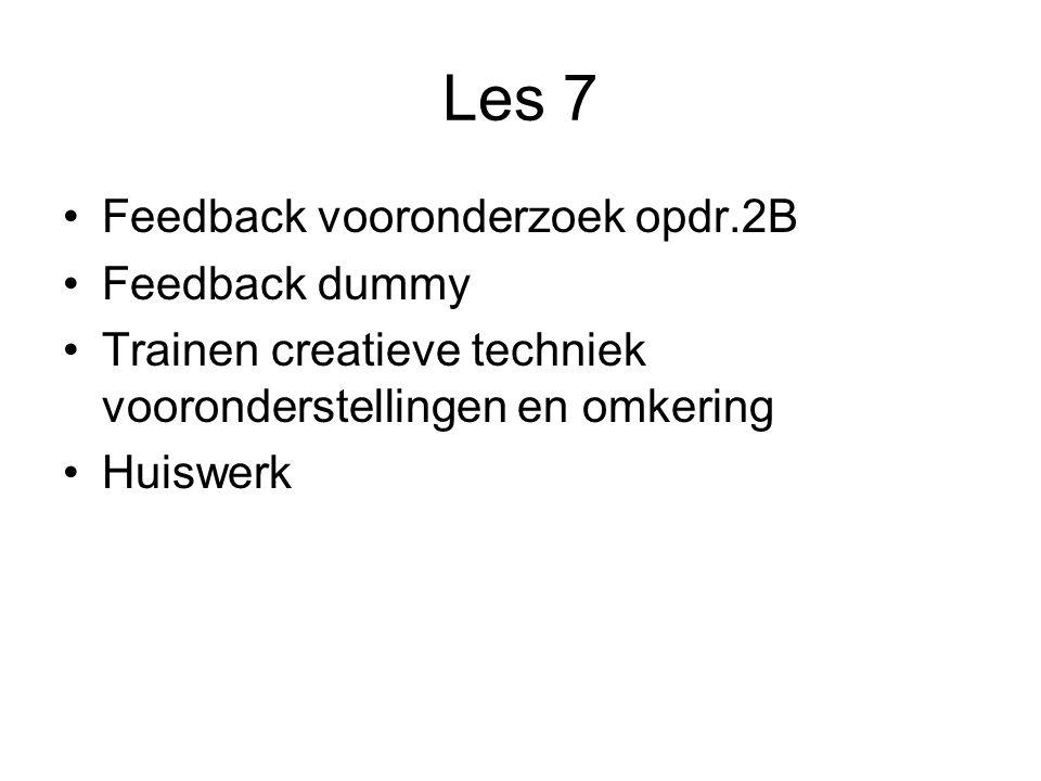 Les 7 Feedback vooronderzoek opdr.2B Feedback dummy