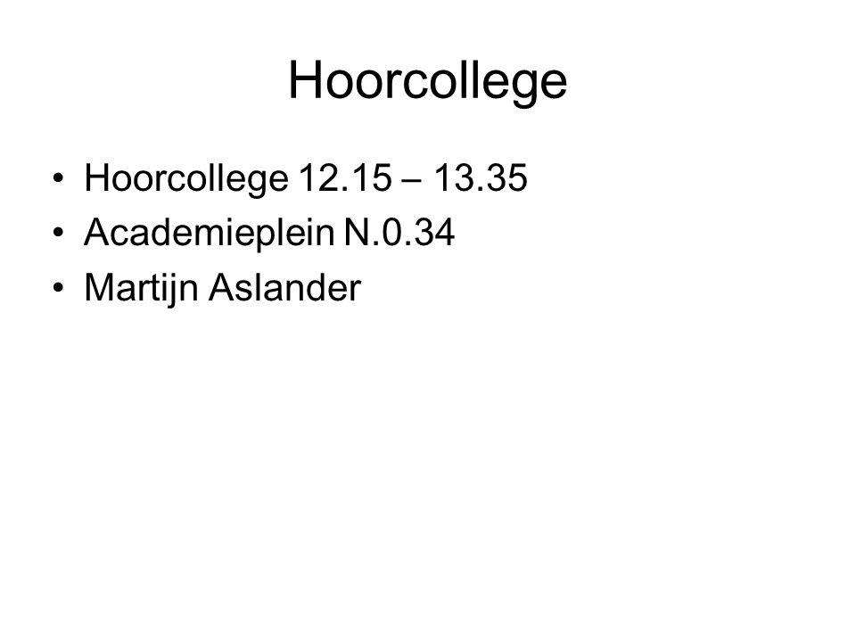 Hoorcollege Hoorcollege 12.15 – 13.35 Academieplein N.0.34