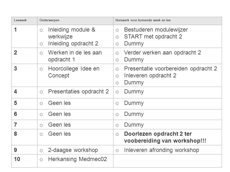 Inleiding module & werkwijze Inleiding opdracht 2