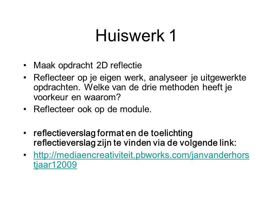 Huiswerk 1 Maak opdracht 2D reflectie