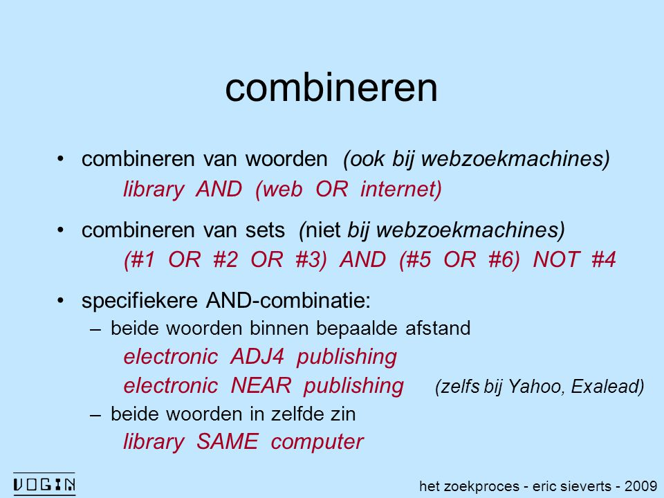 combineren library AND (web OR internet)