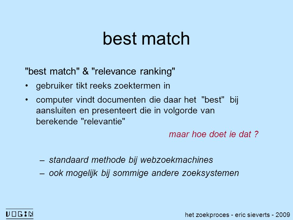 best match best match & relevance ranking