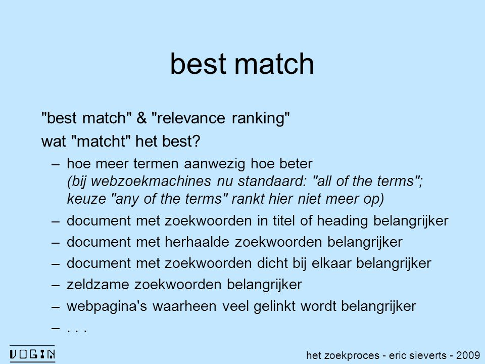 best match best match & relevance ranking wat matcht het best