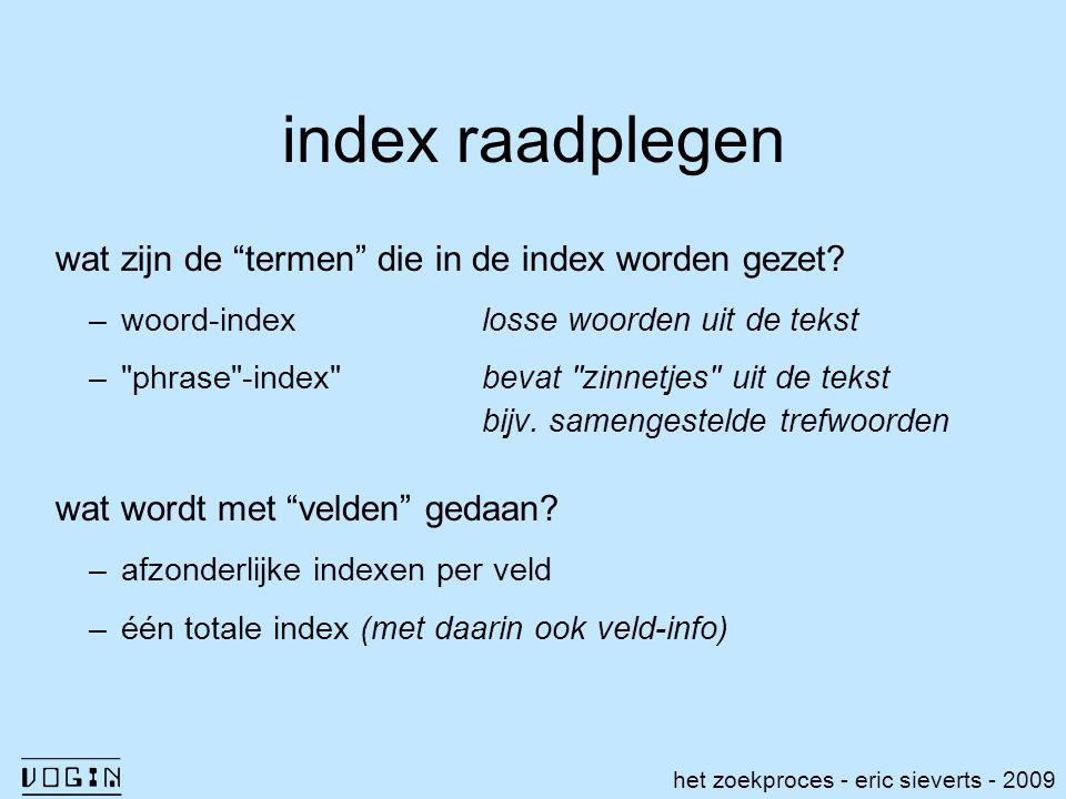 index raadplegen wat zijn de termen die in de index worden gezet