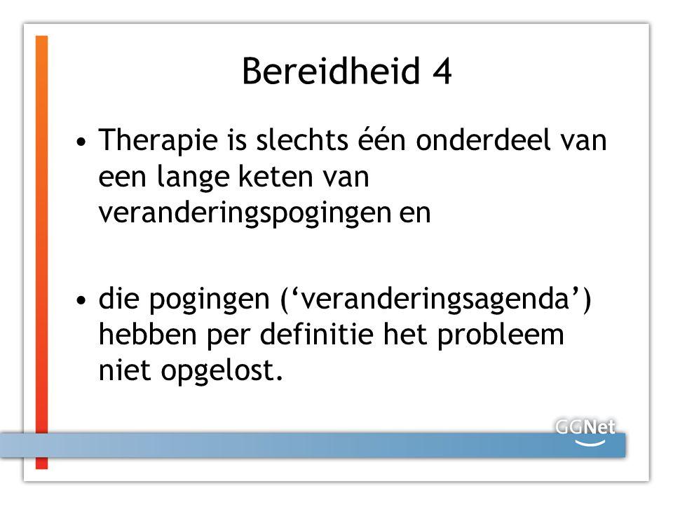 Bereidheid 4 Therapie is slechts één onderdeel van een lange keten van veranderingspogingen en.