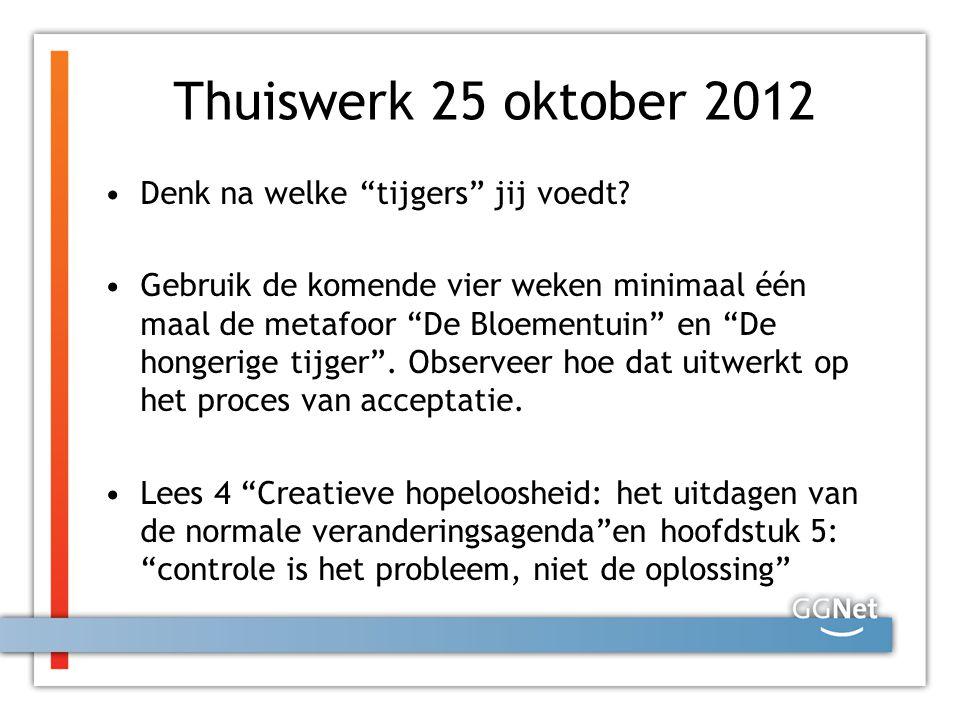 Thuiswerk 25 oktober 2012 Denk na welke tijgers jij voedt