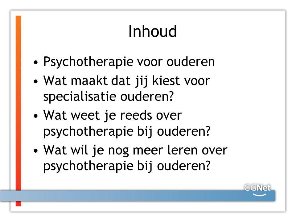 Inhoud Psychotherapie voor ouderen