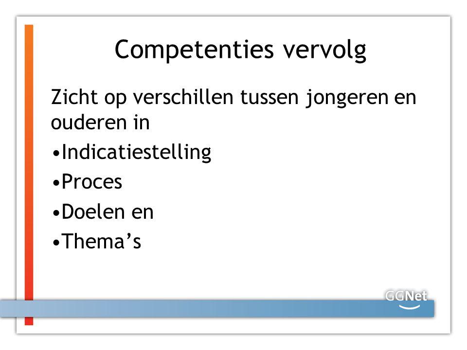 Competenties vervolg Zicht op verschillen tussen jongeren en ouderen in. Indicatiestelling. Proces.