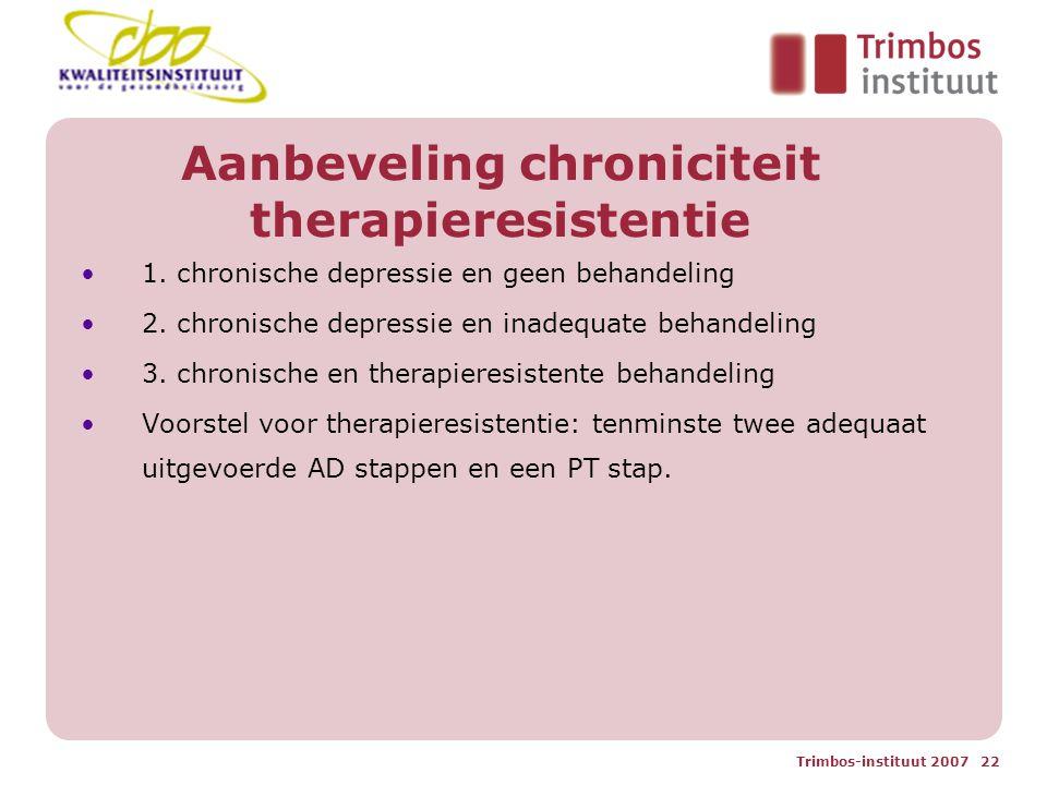 Aanbeveling chroniciteit therapieresistentie