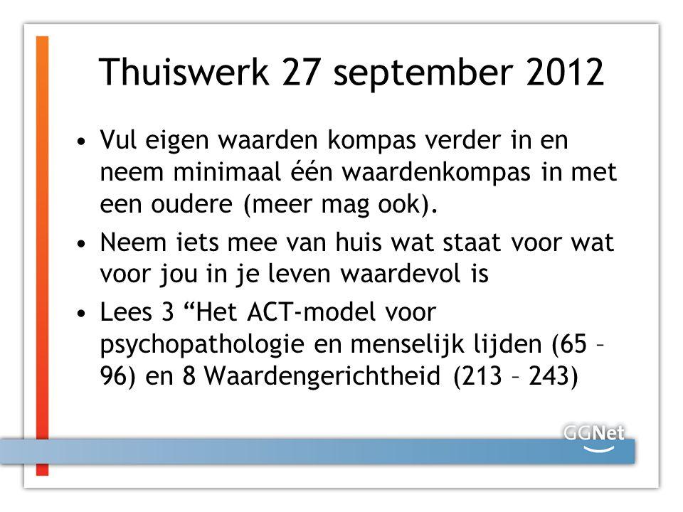 Thuiswerk 27 september 2012 Vul eigen waarden kompas verder in en neem minimaal één waardenkompas in met een oudere (meer mag ook).