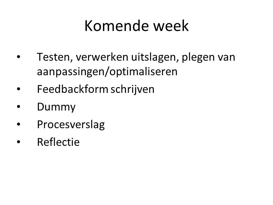 Komende week Testen, verwerken uitslagen, plegen van aanpassingen/optimaliseren. Feedbackform schrijven.