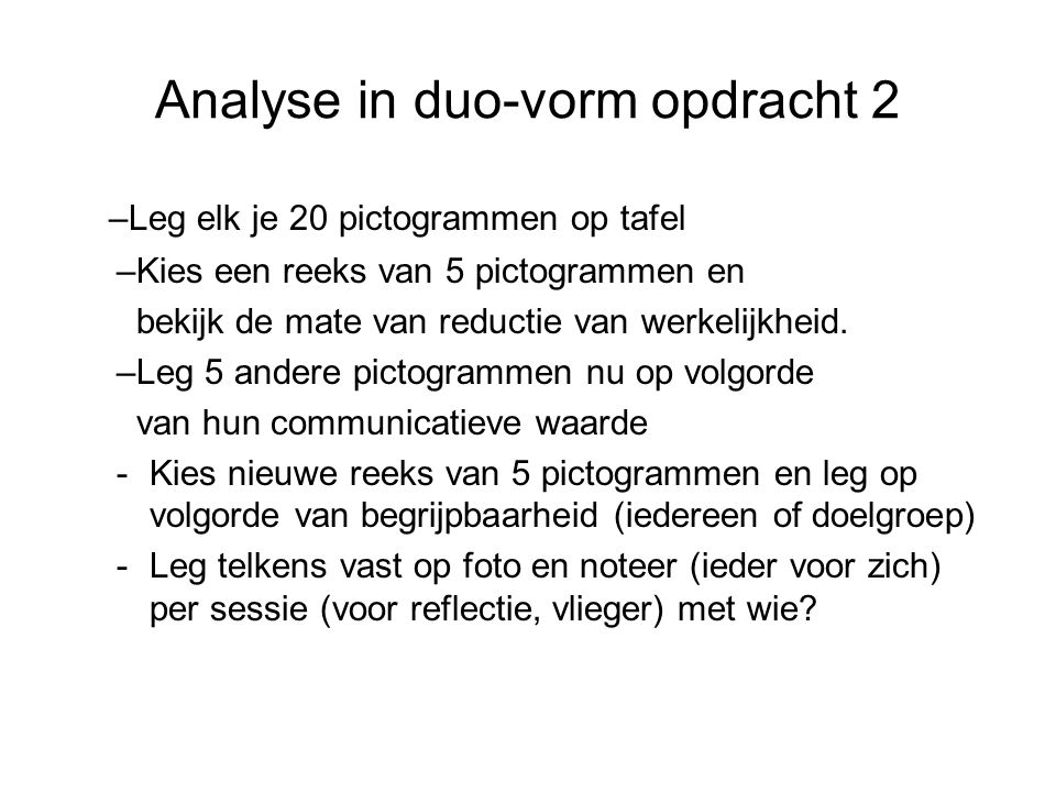 Analyse in duo-vorm opdracht 2