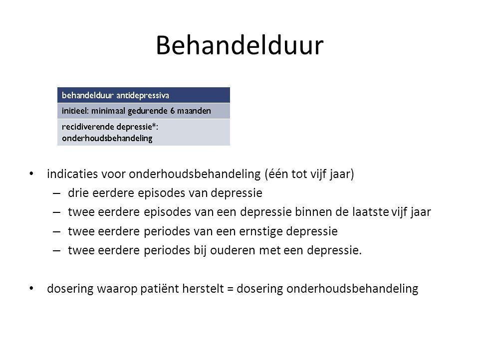 Behandelduur indicaties voor onderhoudsbehandeling (één tot vijf jaar)