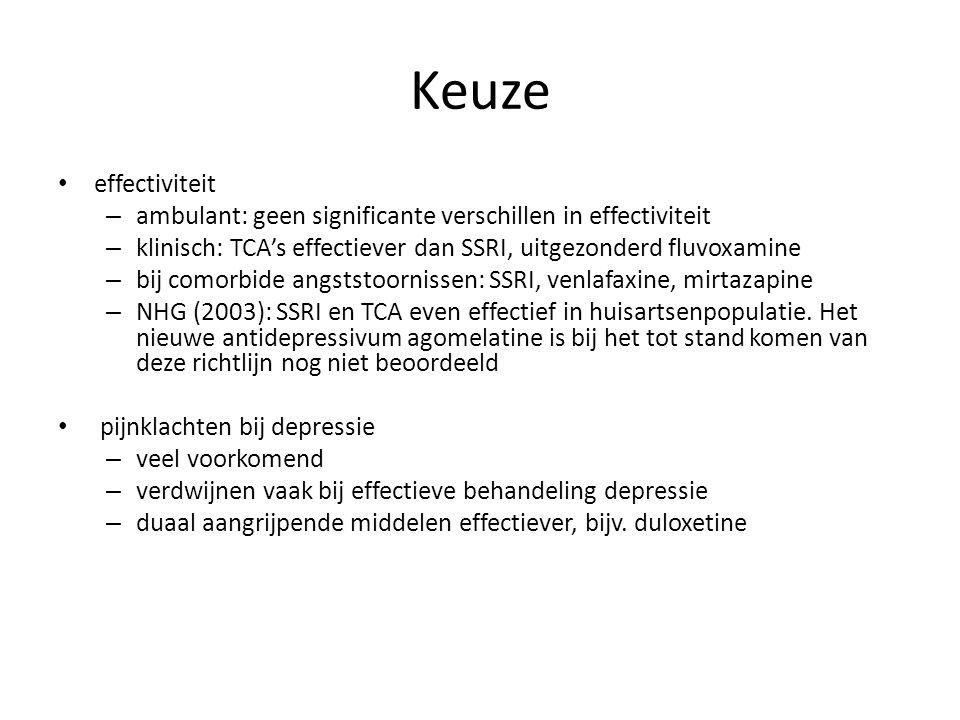 Keuze effectiviteit. ambulant: geen significante verschillen in effectiviteit. klinisch: TCA's effectiever dan SSRI, uitgezonderd fluvoxamine.