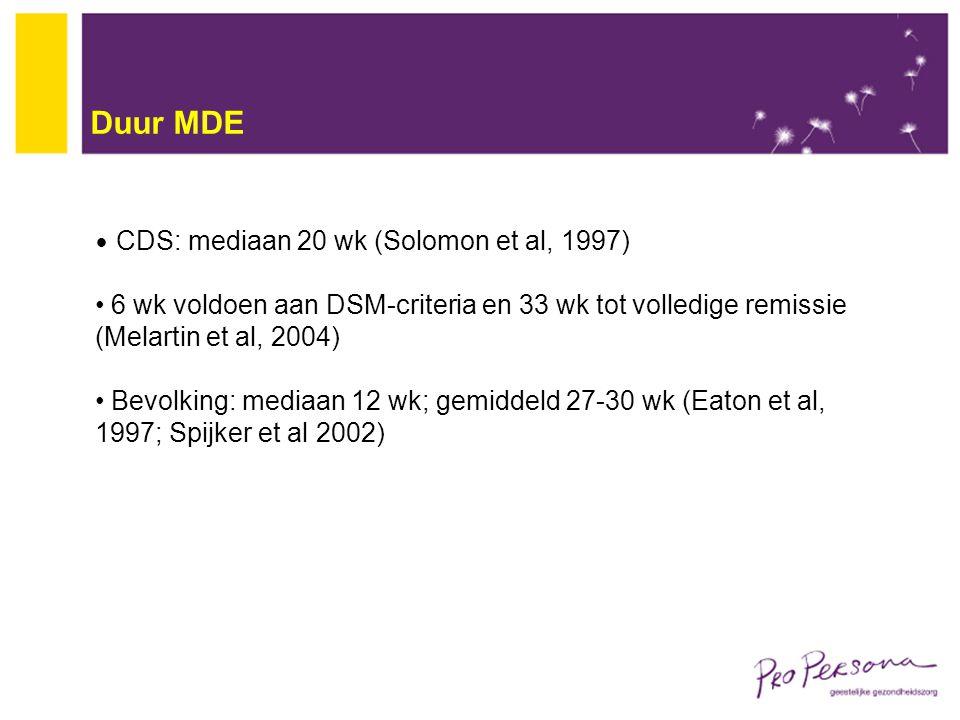 Duur MDE CDS: mediaan 20 wk (Solomon et al, 1997) 6 wk voldoen aan DSM-criteria en 33 wk tot volledige remissie (Melartin et al, 2004)