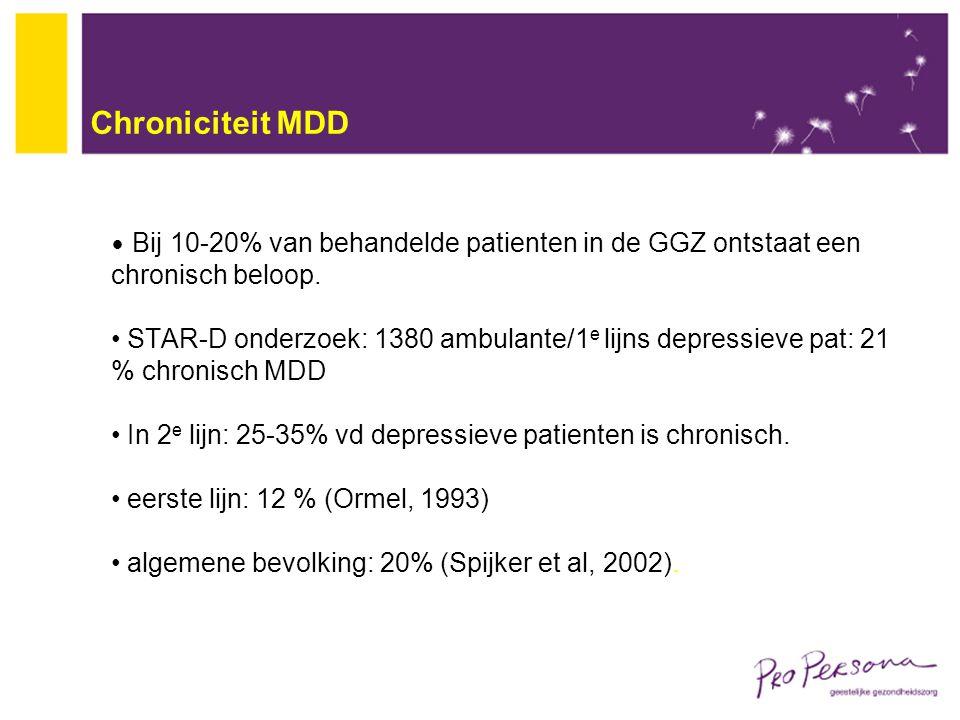 Chroniciteit MDD Bij 10-20% van behandelde patienten in de GGZ ontstaat een chronisch beloop.