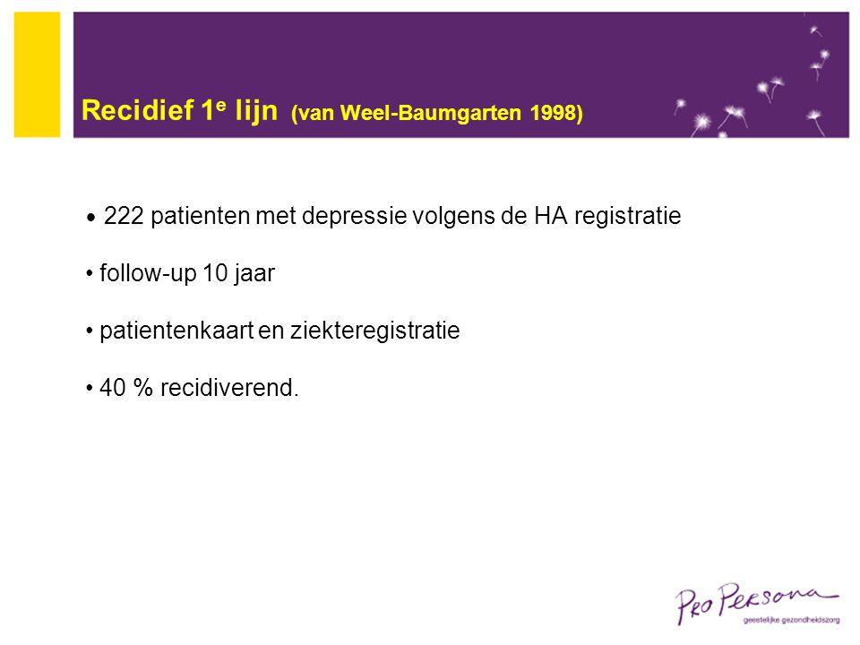 Recidief 1e lijn (van Weel-Baumgarten 1998)