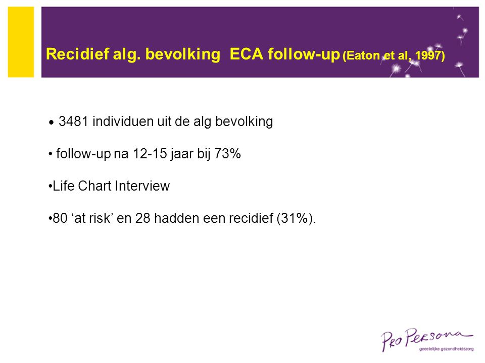 Recidief alg. bevolking ECA follow-up (Eaton et al, 1997)