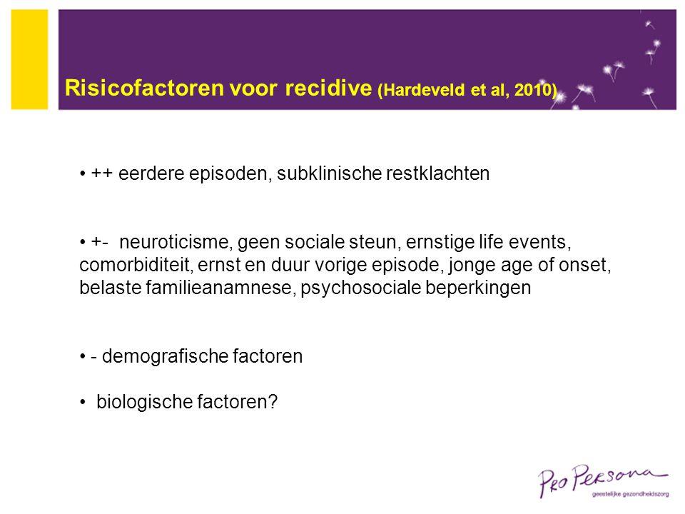 Risicofactoren voor recidive (Hardeveld et al, 2010)