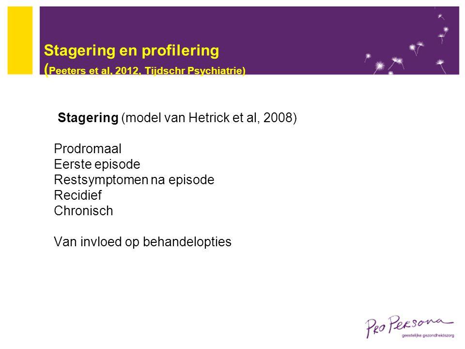 Stagering en profilering (Peeters et al, 2012, Tijdschr Psychiatrie)
