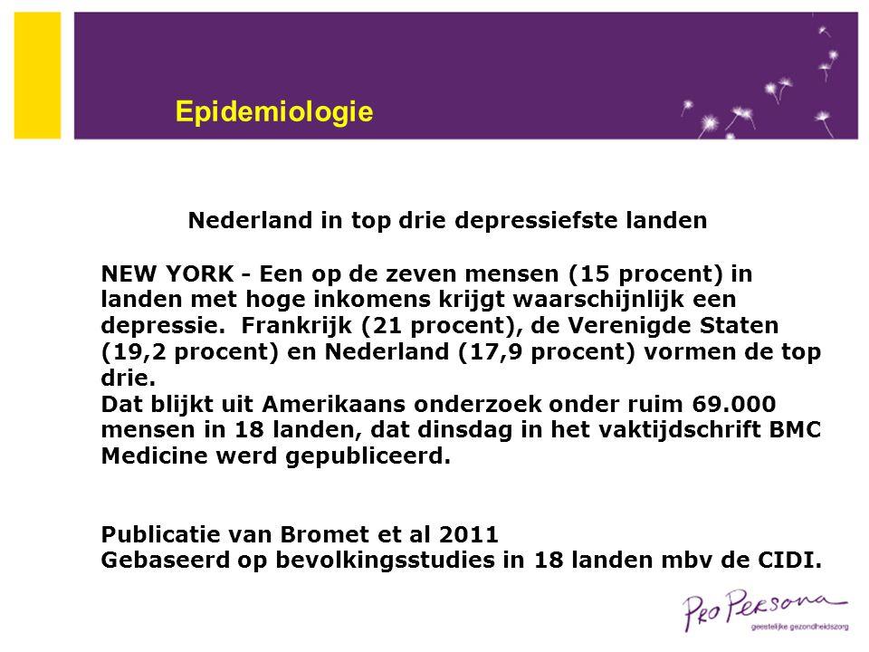 Nederland in top drie depressiefste landen