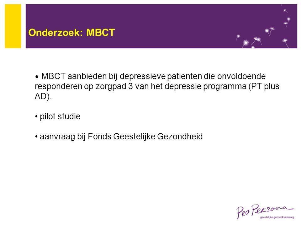 Onderzoek: MBCT pilot studie aanvraag bij Fonds Geestelijke Gezondheid