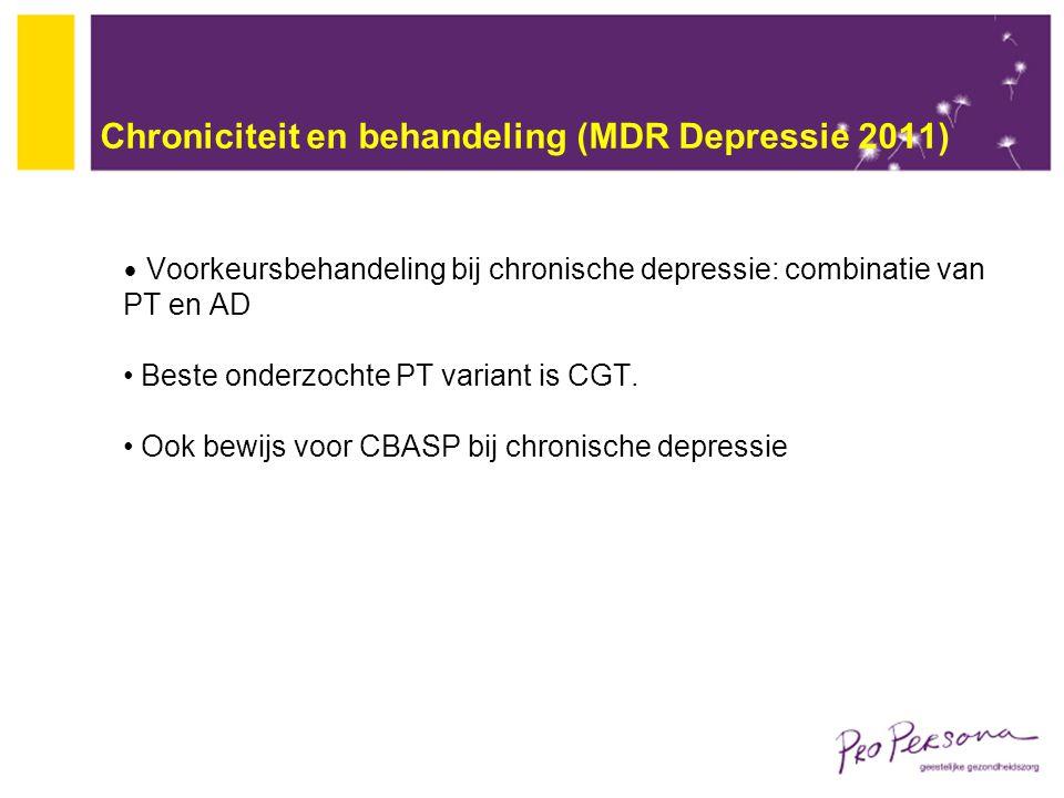 Chroniciteit en behandeling (MDR Depressie 2011)