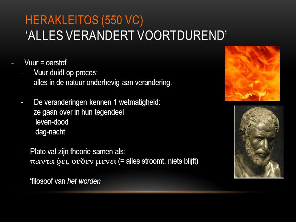 Herakleitos (550 vC) 'Alles verandert voortdurend'