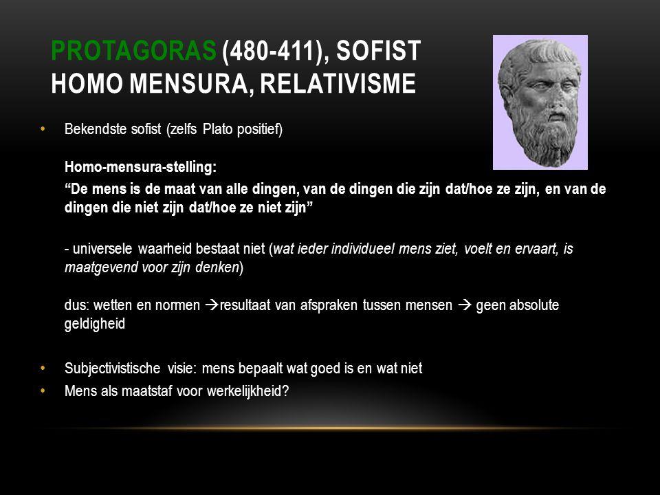 Protagoras (480-411), sofist Homo Mensura, relativisme