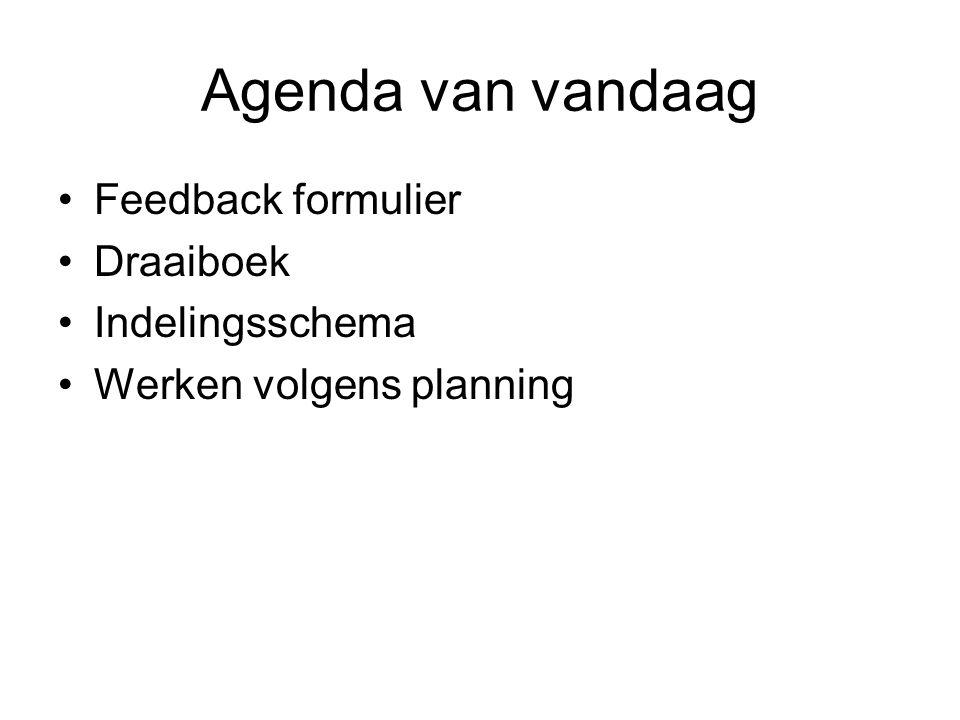 Agenda van vandaag Feedback formulier Draaiboek Indelingsschema