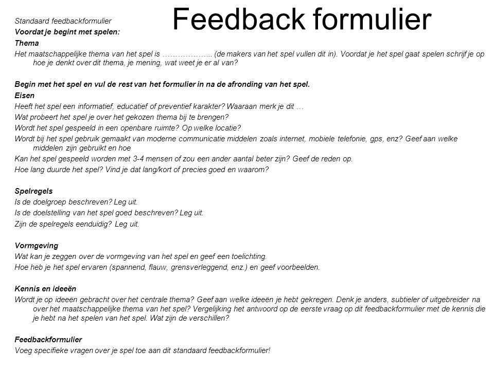 Feedback formulier Standaard feedbackformulier