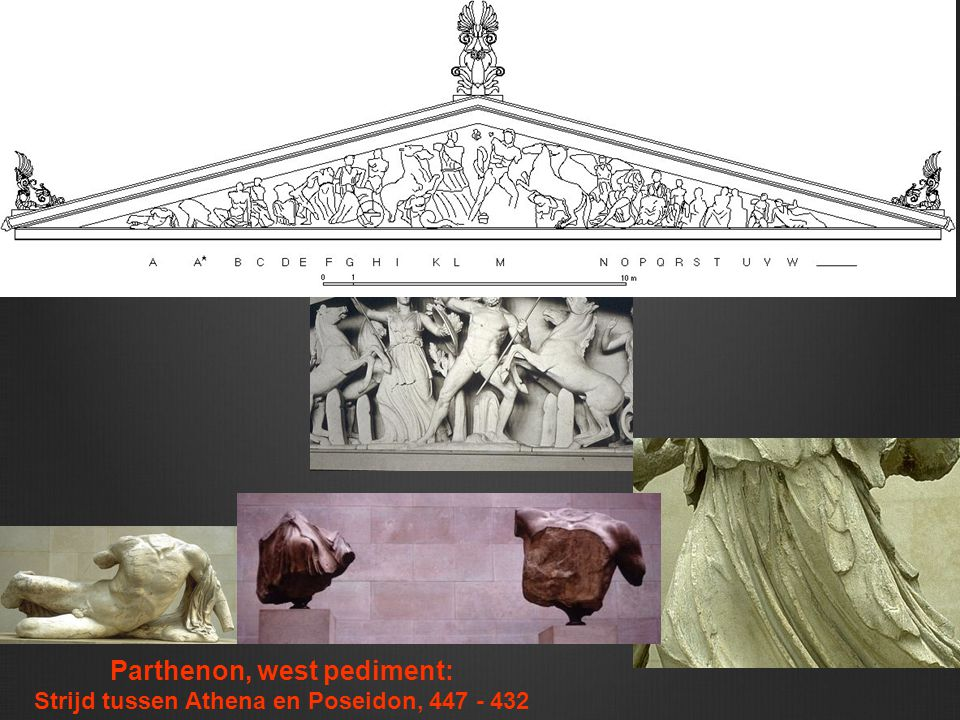 Parthenon, west pediment: Strijd tussen Athena en Poseidon, 447 - 432