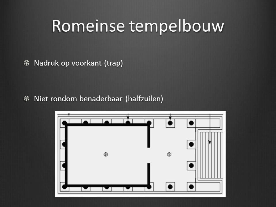 Romeinse tempelbouw Nadruk op voorkant (trap)
