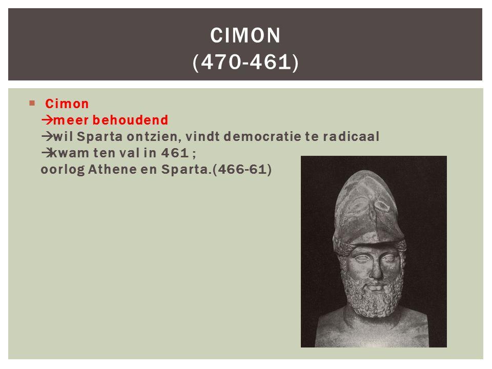 Cimon (470-461) Cimon à meer behoudend à wil Sparta ontzien, vindt democratie te radicaal àkwam ten val in 461 ; oorlog Athene en Sparta.(466-61)